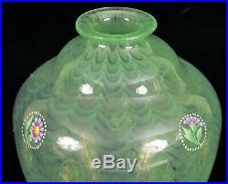 Stunning Green Swirl Art Glass Vase Hand Painted Flower Tiffany Loetz 6 Tall