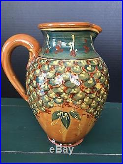 Sud & Co Cassis En Provence Hand Painted Tall Pitcher -stoneware Ff Griffi Rare