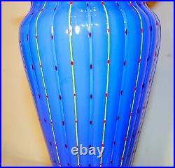 TALL vintage hand blown art studio glass Italian Murano blue ribbed vase Italy