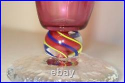 TALL vintage hand blown art studio glass Italian Murano marble vase Italy