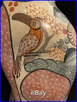 TONALA MEXICO POTTERY HAND PAINTED CAT JUMBO SIZE 16 TALL With BIRD AND RABBIT