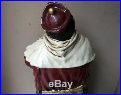 Tall 52H Fiberglass Monk Statue Wine Rack/Cabinet/Bar Hand Painted