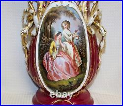 Tall Antique Hand-Painted Victorian Porcelain Vase, Dated 1890