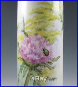 Tall Antique Hand Painted Vienna Austria Porcelain Vase with Flowers Artist Sign