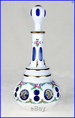 Tall Bohemian Hand Painted Glass With Gold Trim White Cut to Blue Decanter