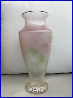 Tall Glass Vase handpainted flowers Jugendstil Poschinger Loetz Bohemian Legras
