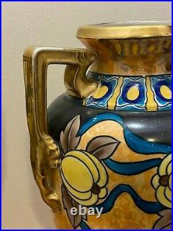 Tall Pair vintage Noritake Lusterware vases urns 1930s Made in Japan Handpainted