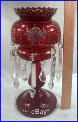 Tall Ruby Cut Crystal Candleholder (Luster) with Alternating Cut Crystal Prisms