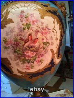 Tall Vintage Antique Hand Painted Porcelain Ormolu Table Lamp