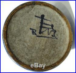 Tall Vintage Denmark Signed Blue Hand Painted Bird Pottery Pitcher Pourer Vase