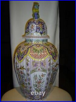 Tiffany & Co. Tall Hand-painted Porcelain Covered Vase Made By Limoges