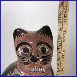 Tonala Pottery Cat Figurine, Hand Painted Mexico Folk Art 21 Tall