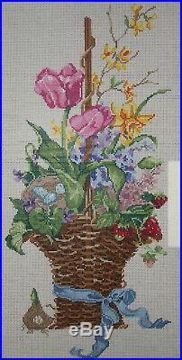 Treglown 19 Tall Handpainted Needlepoint Canvas Spring Basket Retail $248 HP Np