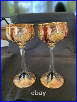Two Antique Moser 8 Tall Wine Stems from late 1800s Beautiful Gilt & Cranberry