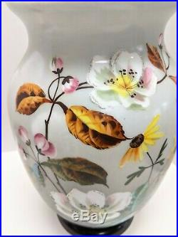 VICTORIAN HAND PAINTED MILK GLASS VASE LARGE PAINTED FLOWERS 12 Tall