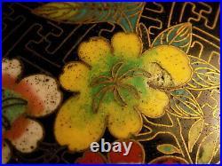 VINTAGE CHINESE CLOISONNE VASE EXOTIC FLOWERS DESIGN LAO TIAN LI 22 cm tall