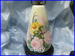 VINTAGE-HAND PAINTED TABLE LAMP PINK AND YELLOW ROSES PRE OWNED 21-12 Tall