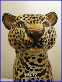 VINTAGE Leopard sitting statue. Made in Italy, handpainted, 15 tall