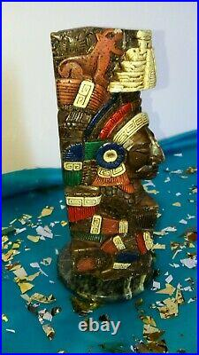 VINTAGE/TOTEM POLE Aztec Mayan/Clay Hand Painted 10 INCHES tall/ MEXICO/1989