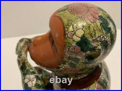 VTG Speak No Evil Porcelain 11 Tall Hand Painted Monkey Floral Design Very RARE