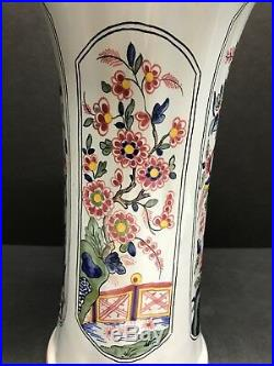 VTG TIFFANY & CO HAND PAINTED HEXAGON FLORAL VASE MADE IN FRANCE 12 Tall