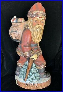 Vaillancourt Folk Art St. Nicholas With Waking Stick 20 Tall Signed RARE 2000