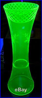Vaseline Glass Czech-Bohemian 12 Tall Hand Blown Design Unique Rare Etched Vase