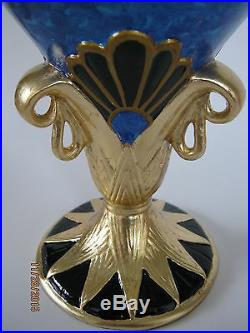 Veronese Gold Leaf Egyptian Vase/Urn Hand-Painted Relief Mural Design-11.75Tall
