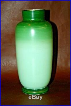 Very Nice Antique 9 Tall Bristol Hand Painted Floral Green Victorian Glass Vase