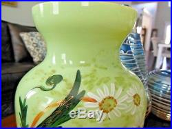 Victorian BRISTOL Glass PICTORIAL PORTRAIT Handpainted Enameled VASE 12.5 Tall