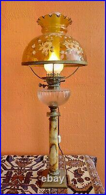 Victorian Tall converted oil lamp, Bronze base Marble Colum Handpainted Shade