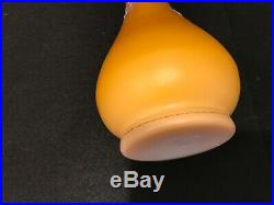 Victorian Webb Harrach Butterscotch Enamel Case Glass Vase 10.25 Tall