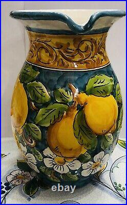 Vietri pottery-10Inch Tall(3quart)Pitcher With Lemons. Made/painted by hand-Italy
