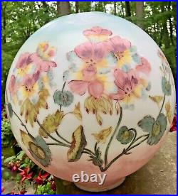 Vintage 12 Tall GWTW Glass Globe Ball Shade Hand-painted Flowers Pansies