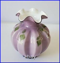Vintage 2003 FENTON Art Glass Vase SWEETBRIAR Plum Purple Overlay 7 Tall