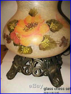 Vintage 3 Way Gone with the Wind Hurricane Hand Painted Lamp BEAUTIFUL 26 Tall