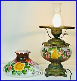 Vintage Antique Hand Painted Floral Gone With The Wind Hurricane Lamp 20 Tall
