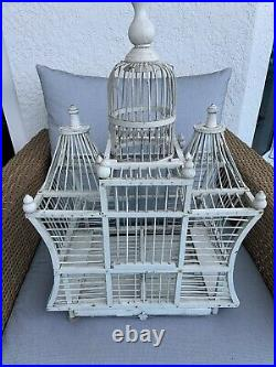 Vintage Antique wood BIRD CAGE hand painted White 26 tall gorgeous