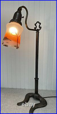 Vintage Art Deco Table Lamp with Reverse hand painted glass shade 26 tall