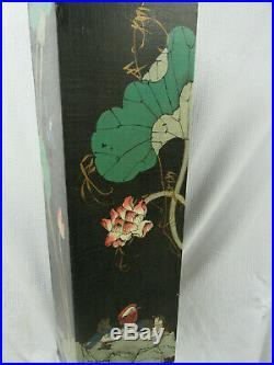 Vintage Asian Hand Painted Pedestal Plant Stand Chinoiserie 39 Tall Birds