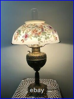 Vintage B & H Gone With The Wind Lamp withHand Painted Glass Shade, 24 3/4 Tall