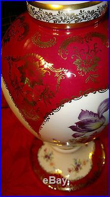 Vintage Bavaria Dresden Alka Kunst Porcelain Hand Painted Table Lamp 14.5 Tall
