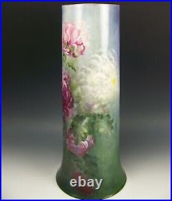 Vintage Belleek Hand Painted Colorful Mum 14 Tall Vase