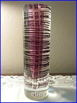 Vintage Beranek Art Glass Czech Republic Hand Made 11 1/4 Tall x 3 1/2 Wide Vase