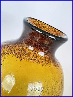 Vintage Blenko Styled Amber Crackle Glass Vase Large 15in Tall Hand Blown Art