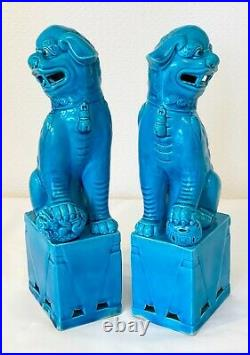 Vintage Chinese Foe Dogs Temple Lion Turquoise Pair Porcelain 10 Ins Tall