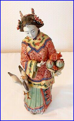 Vintage Chinese Porcelain Ceramic Lady Figurines Statues Signed 11. 5 ins Tall
