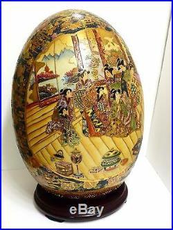 Vintage Chinese Satsuma 16 Tall Porcelain Cloisonne Hand Painted Egg Pickup OK