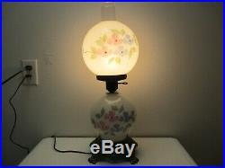 Vintage EF & EF Industries Hurricane Table Lamp Milk Glass Hand Painted 22 Tall