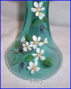 Vintage Fenton Art Glass 11 Tall Vase Hand Painted By Sue Jackson With Labels